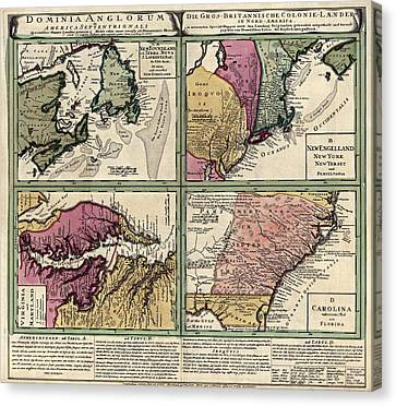 Antique Map Of Colonial America By Homann Erben - Circa 1760 Canvas Print by Blue Monocle