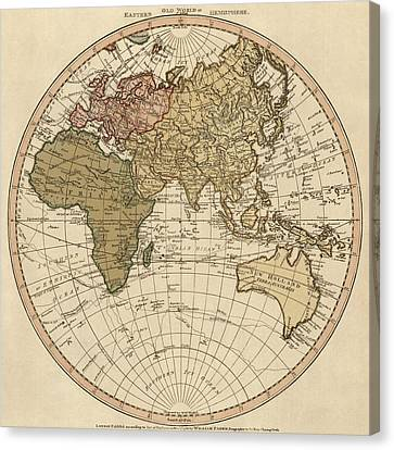 Antique Map Of The Eastern Hemisphere By William Faden - 1786 Canvas Print by Blue Monocle