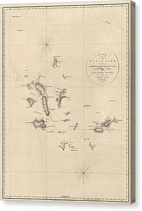 Antique Map Of The Galapagos Islands By James Colnett - 1798 Canvas Print by Blue Monocle