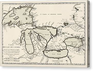 Antique Map Of The Great Lakes By Jacques Nicolas Bellin - 1742 Canvas Print by Blue Monocle