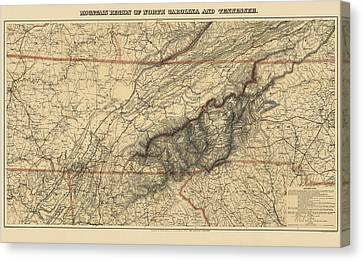 Old Canvas Print - Antique Map Of The Great Smoky Mountains - North Carolina And Tennessee - By W. L. Nickolson - 1864 by Blue Monocle