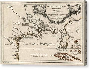 Antique Map Of The Gulf Coast And The Southeast By Nicolas De Fer - 1701 Canvas Print by Blue Monocle