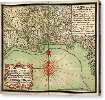 Antique Map Of The Gulf Coast By Alexandre De Batz - 1747 Canvas Print by Blue Monocle