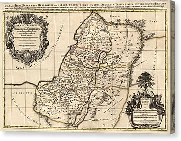 Antique Map Of The Holy Land By Alexis Hubert Jaillot - 1696 Canvas Print