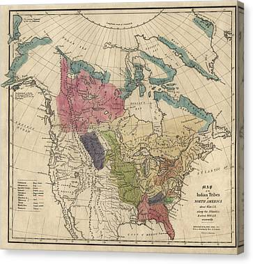 Antique Map Of The Indian Tribes Of North America By Albert Gallatin - 1836 Canvas Print by Blue Monocle