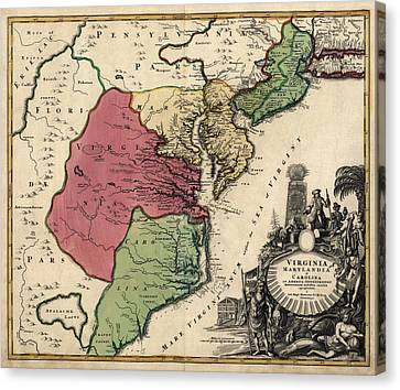 Maryland Canvas Print - Antique Map Of The Middle American Colonies By Johann Baptist Homann - Circa 1759 by Blue Monocle