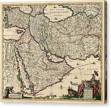 Antique Map Of The Middle East By Frederik De Wit - Circa 1666 Canvas Print by Blue Monocle