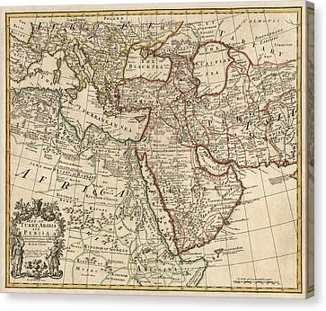 Antique Map Of The Middle East By Guillaume Delisle - 1721 Canvas Print by Blue Monocle