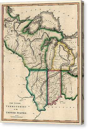 Antique Map Of The Midwest Us By Kneass And Delleker - Circa 1810 Canvas Print