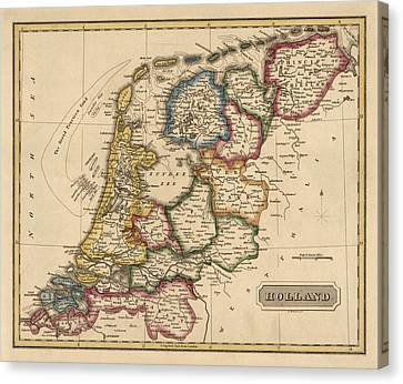 Antique Map Of The Netherlands By Fielding Lucas - Circa 1817 Canvas Print