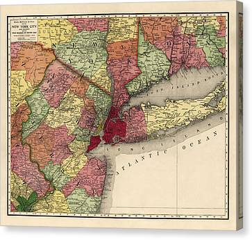 Antique Map Of The New York City Region By Rand Mcnally And Company - 1908 Canvas Print by Blue Monocle