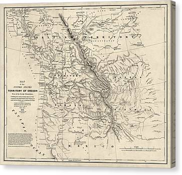Antique Map Of The Pacific Northwest By Washington Hood - 1838 Canvas Print by Blue Monocle