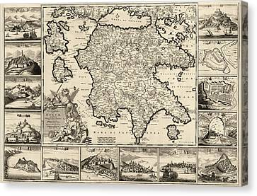 Old Canvas Print - Antique Map Of The Peloponnesian Peninsula In Greece By Frederik De Wit - Circa 1688 by Blue Monocle