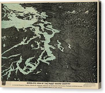 Antique Map Of The Puget Sound Washington By Charles H. Baker And Co. - 1891 Canvas Print by Blue Monocle