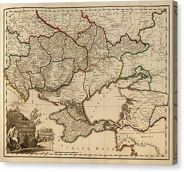 Antique Map Of The Russian Empire In Russian 1800 Canvas Print by Mountain Dreams