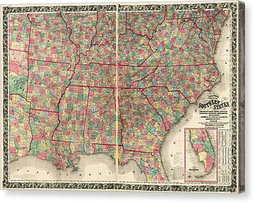 Antique Map Of The Southeast Us By Joseph Hutchins Colton - 1861 Canvas Print by Blue Monocle