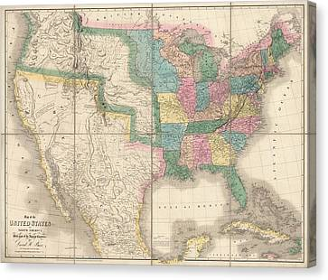 Antique Map Of The United States By David Burr - 1839 Canvas Print by Blue Monocle