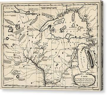 Chicago Canvas Print - Antique Map Of The Upper Midwest Us  And Great Lakes By Benard - Circa 1768 by Blue Monocle