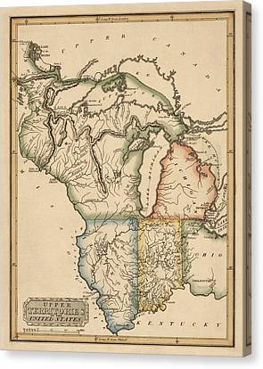 Antique Map Of The Upper Midwest Us By Fielding Lucas - Circa 1817 Canvas Print