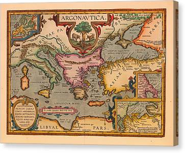 Antique Map Of The Voyage Of The Argonauts 1620 Canvas Print
