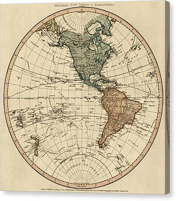 Antique Map Of The Western Hemisphere By William Faden - 1786 Canvas Print by Blue Monocle