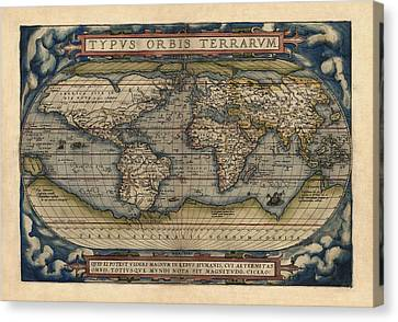 World Map Canvas Print - Antique Map Of The World By Abraham Ortelius - 1570 by Blue Monocle