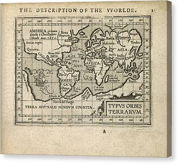 Antique Map Of The World By Abraham Ortelius - 1603 Canvas Print