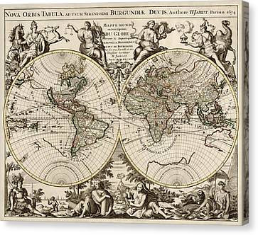 World Map Canvas Print - Antique Map Of The World By Alexis Hubert Jaillot - 1694 by Blue Monocle