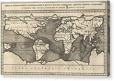 Antique Map Of The World By Athanasius Kircher - 1668 Canvas Print by Blue Monocle