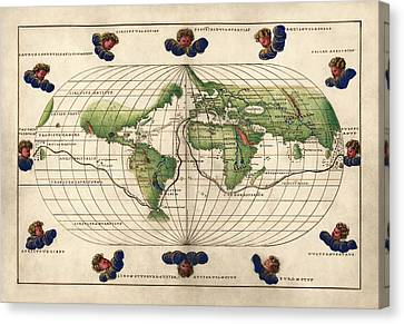 World Map Canvas Print - Antique Map Of The World By Battista Agnese - Circa 1544 by Blue Monocle