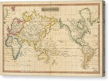 Antique Map Of The World By Fielding Lucas - Circa 1817 Canvas Print by Blue Monocle