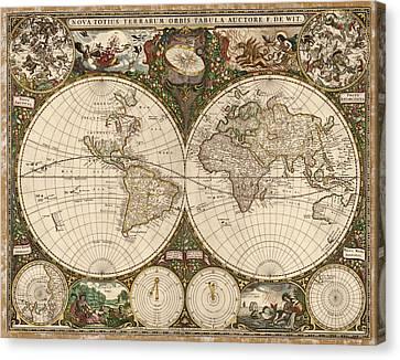 Antique Map Of The World By Frederik De Wit - 1660 Canvas Print by Blue Monocle