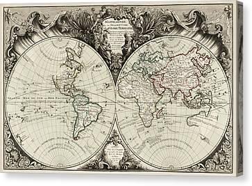 Antique Map Of The World By Gilles Robert De Vaugondy - 1743 Canvas Print