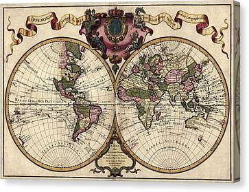 Vintage Map Canvas Print - Antique Map Of The World By Guillaume Delisle - 1720 by Blue Monocle