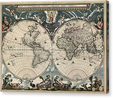 World Map Canvas Print - Antique Map Of The World By Joan Blaeu - 1664 by Blue Monocle