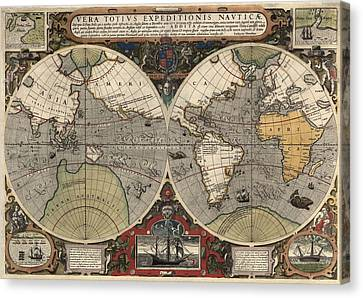 Antique Map Of The World By Jodocus Hondius - Circa 1565 Canvas Print by Blue Monocle