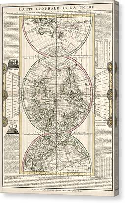 Antique Map Of The World By M. Flecheux - 1782 Canvas Print by Blue Monocle