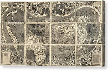 Old Canvas Print - Antique Map Of The World By Martin Waldseemuller - 1507 by Blue Monocle