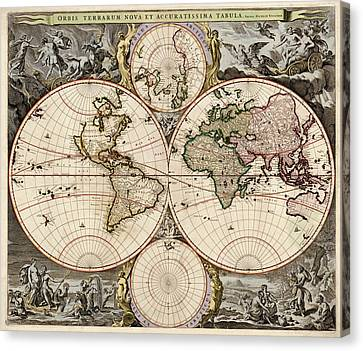 Antique Map Of The World By Nicolaes Visscher - Circa 1690 Canvas Print
