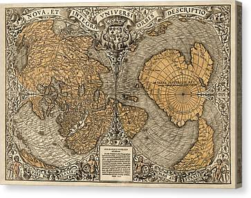 Old Canvas Print - Antique Map Of The World By Oronce Fine - 1531 by Blue Monocle