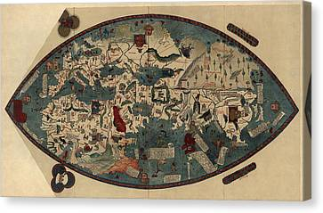Antique Map Of The World By Paolo Del Pozzo Toscanelli - Circa 1450 Canvas Print by Blue Monocle