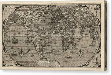 Antique Map Of The World By Paolo Forlani - 1560 Canvas Print by Blue Monocle