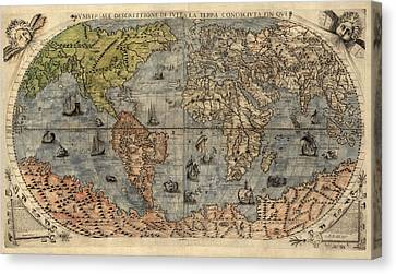 Antique Map Of The World By Paolo Forlani - 1565 Canvas Print by Blue Monocle