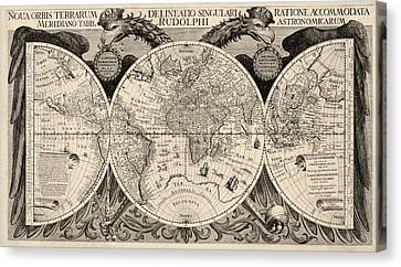 Antique Map Of The World By Philipp Eckebrecht - 1630 Canvas Print by Blue Monocle