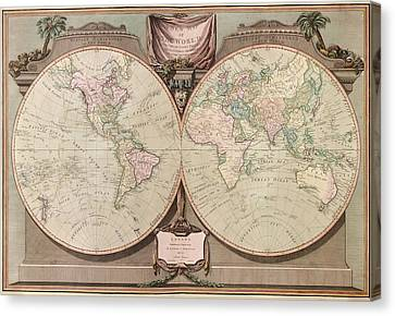 Antique Map Of The World By Robert Laurie And James Whittle - 1808 Canvas Print