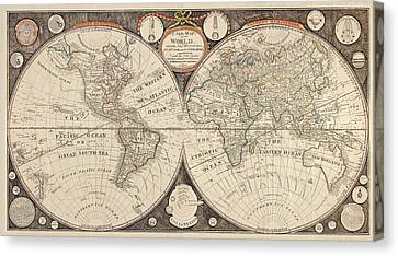 Antique Map Of The World By Thomas Kitchen - 1799 Canvas Print by Blue Monocle