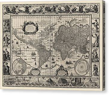 Antique Map Of The World By Willem Janszoon Blaeu - 1606 Canvas Print by Blue Monocle