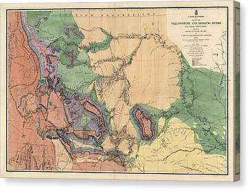 Antique Map Of The Yellowstone And Missouri Rivers By F. V. Hayden - 1869 Canvas Print by Blue Monocle