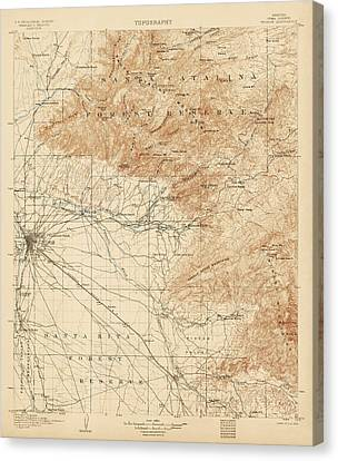 Antique Map Of Tucson Arizona - Usgs Topographic Map - 1905 Canvas Print by Blue Monocle