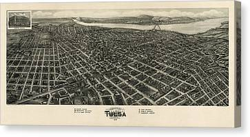 Antique Map Of Tulsa Oklahoma By Fowler And Kelly - 1918 Canvas Print by Blue Monocle